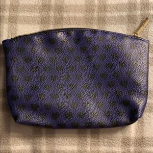 Purple Hearts Faux leather cosmetic bag